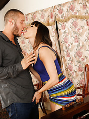 Dana DeArmond licks a big cock and gets it in the trimmed pussy