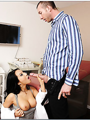 Nasty Asian doctor Asa Akira takes a big cock and tastes her fucker's sperm