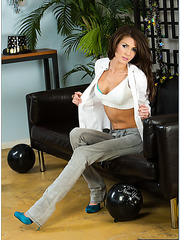 Skinny and crazy girl Jenni Lee looks amazng without her red dress