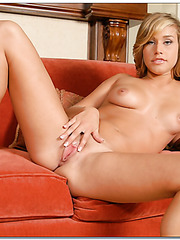 Naughty blonde angel Kennedy Leigh plays with her shaved pussy and enjoys