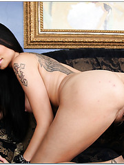 Slutty brunette Raven Bay undresses to show you her wet secrets