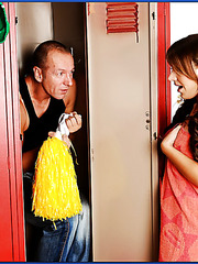 Playful and cute babe Jaclyn Case meets him in the locker room with wet pussy