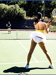 Fascinating brunette tennis player Nadia Nitro knows how to seduce her trainer
