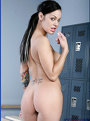 First-class bombshells Rachel Starr and Angelina Valentine seduce trainer in the locker room