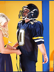 Blonde cheerleader milf Rhylee Richards uses her big tits to seduce football player