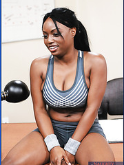 Fatty and raelly boobs Ebony with sassy dark nipples Jada Fire got a trainer's white cock