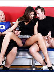Ravishing milf Madelyn Marie strips and takes part of amazing threesome