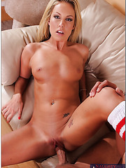 Gorgeous blonde with natural tits Kiara Diane looks like a cougar with a cock in the pussy