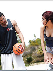 Dark-haired milf Aleksa Nicole strips and gets fucked by tall basketball player