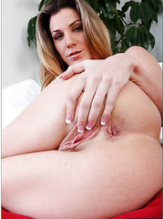 Busty babe Kayla Paige shows her sweet pussy and masturbates