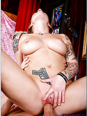 Tattooed and pierced whore Scarlett Pain having a big fat cock in her holes