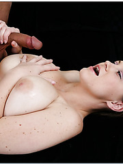 Curvy girl Sara Stone doing a marvelous tit job and having her pussy drilled