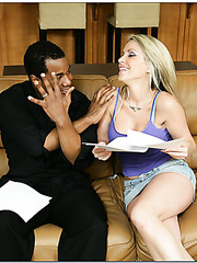Amazing babe Courtney Cummz is being pleased by a chocolate cock of her boy
