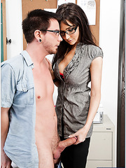 Elegant brunette chick Diana Prince undresses and fucks with her young boyfriend