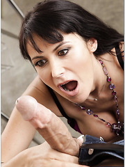 Brunette slut Eva Karera takes a strong cock in the sweet mouth