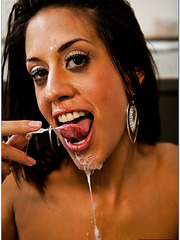 Skinny and hot chick Lyla Storm gets a sweet sperm on the juicy lips