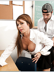 Sexy dark haired lady Jenla Moore seduces her student and enjoys