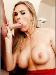 Sweet blonde babe Tanya Tate tastes a big dick and gets pleasure