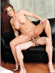 Blonde naughty milf Becca Blossoms gives a hot blowjob and gets a sperm