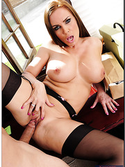 Beautiful milf Diamond Foxxx shows her sexy body and tastes a dick