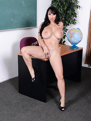 Awesome teacher and her student Callie Calypso and Holly Halston fucked by one cock