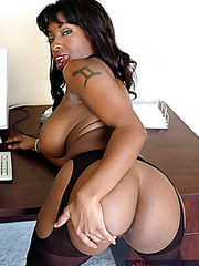 Curvy Ebony with big boobs and huge ass Vanessa Blue in the interracial office scene
