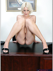 Pretty blonde honey Kimberly Kane presents great sex in the office