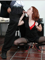 Hungry for cum redhead Trinity Post tries to get it right in her office