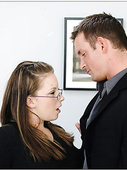 Young office worker with gentle skin and sexy glasses Christie Lee meets big cock
