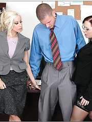 Two mesmerizing office ladies Katja Kassin and Gina Lynn seduce their colleague