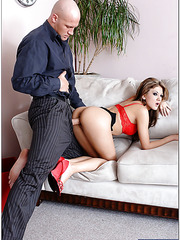 Petite and unforgettable secretary Mia Rose is happy to meet so big cock