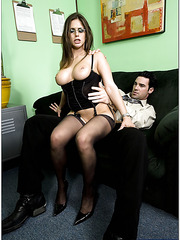 Winsome brunette Rachel Roxxx is a perfect secretary for horny boss