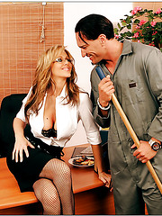 Engrossing blonde milf Julia Ann remains with janitor alone in the office