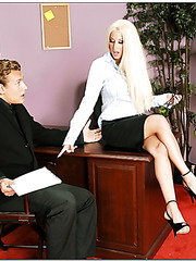 Remarkable blonde babe Gina Lynn is too sexy for her office colleagues