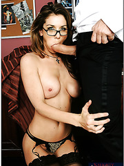 Engaging lady in sexy lingerie Kayla Paige realizes her dirty fucking dreams