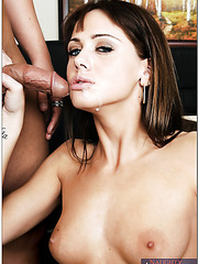 Exquisite and hot Nikki Kane swallows cum after hot venture in the office