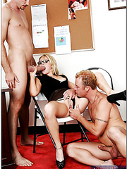 Married blonde secretary Sindee Jennings fucks with two guys at the same time
