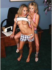 Awesome hotties Ashley Jensen and Brooke Belle pounded by lucky boyfriend