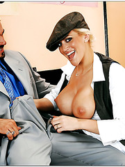 Busty old-fashioned Eve Laurence sucks big cock and gets fucked