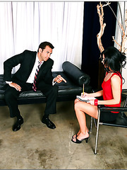 Dangerously hot brunette India Summer willingly opens her holes right in the office