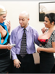 Two busty lesbians Alexis Silver and Phoenix Marie diversified their love with a dick