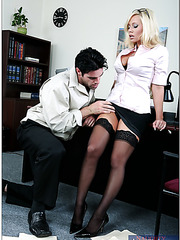 Office bombshell Angelina Ashe in hot glasses and stockings fucked till the cumshot