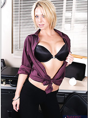 Awesome office break with delicious blonde milf Brianna Beach and her big pair