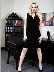 Excellent big titted blonde milf Kagney Linn Karter got a dick right in the office