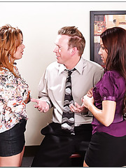 Two busty and delicious ladies AnnMarie Rios and Sienna West got one office cock