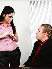 Long-haired brunette office woman Luscious Lopez has a sweet meeting in the cabinet
