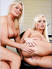 Blonde business women Angelina Ashe and Juliana Jolene fucked at the lunch break