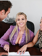 Naughty babes Abbey Brooks and Ky Noelle can not resist and seduce guy in the office