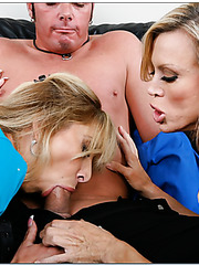 Top-class blonde office milfs Amber Lynn and Morgan Ray seduced lucky boyfriend