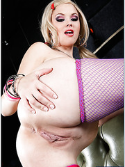 Busty blonde milf Katie Kox rubs her wet pussy and fucks like a slut